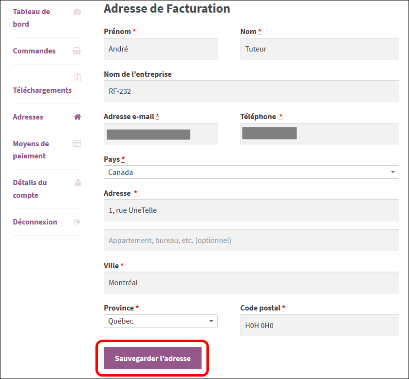 Adresses de facturation
