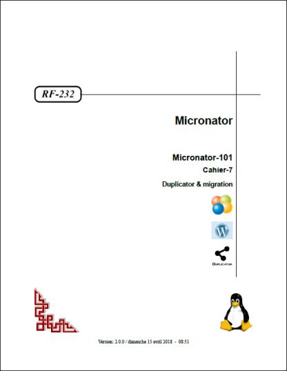 Cours Micronator-101 Cahier-7: Duplicator & migration
