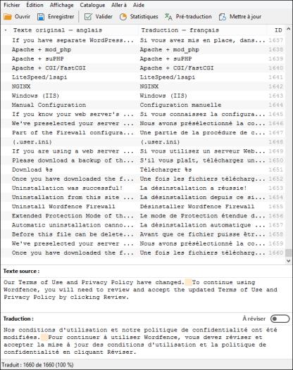 Écran PoEdit de la traduction française pour Wordfence-7.1.6
